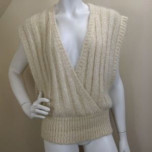 Vintage Christian Dior Sweater Vest Ribbed Knit S